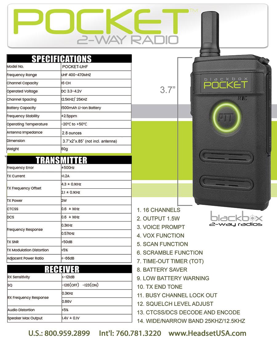 Blackbox Pocket UHF 2-Way Radio
